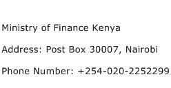 Ministry of Finance Kenya Address Contact Number