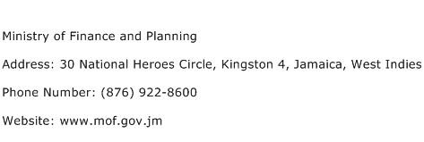 Ministry of Finance and Planning Address Contact Number