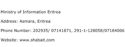 Ministry of Information Eritrea Address Contact Number