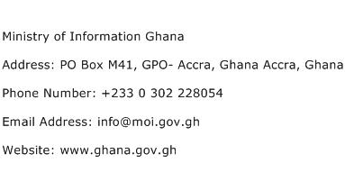 Ministry of Information Ghana Address Contact Number
