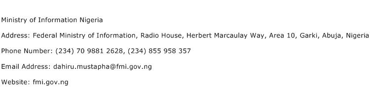 Ministry of Information Nigeria Address Contact Number