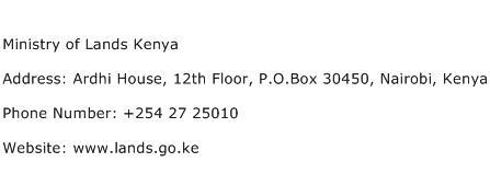 Ministry of Lands Kenya Address Contact Number