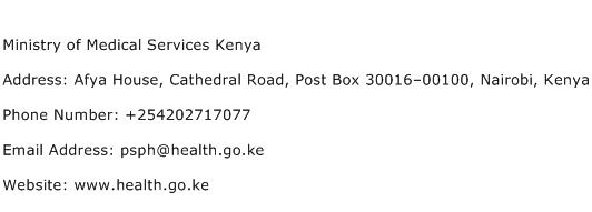 Ministry of Medical Services Kenya Address Contact Number
