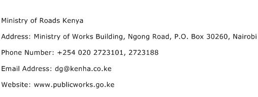 Ministry of Roads Kenya Address Contact Number