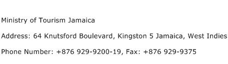 Ministry of Tourism Jamaica Address Contact Number