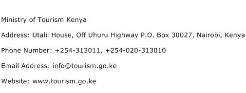 Ministry of Tourism Kenya Address Contact Number