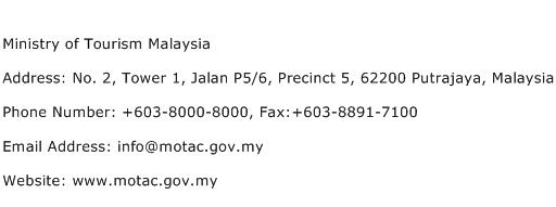 Ministry of Tourism Malaysia Address Contact Number