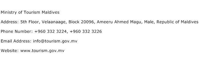Ministry of Tourism Maldives Address Contact Number
