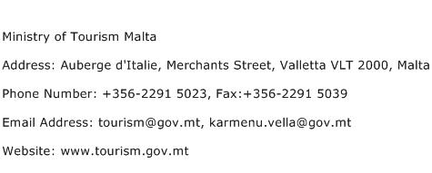 Ministry of Tourism Malta Address Contact Number
