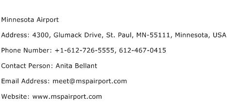 Minnesota Airport Address Contact Number