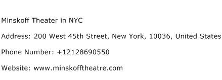 Minskoff Theater in NYC Address Contact Number