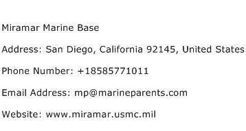 Miramar Marine Base Address Contact Number