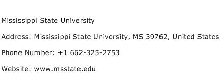 Mississippi State University Address Contact Number