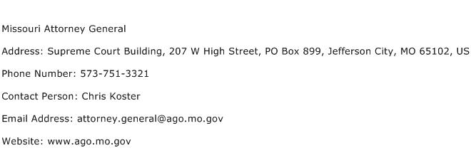 Missouri Attorney General Address Contact Number
