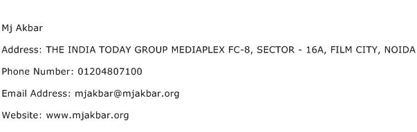 Mj Akbar Address Contact Number
