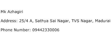 Mk Azhagiri Address Contact Number