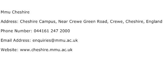 Mmu Cheshire Address Contact Number
