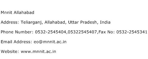 Mnnit Allahabad Address Contact Number