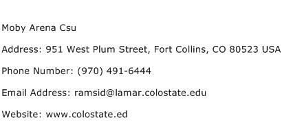 Moby Arena Csu Address Contact Number