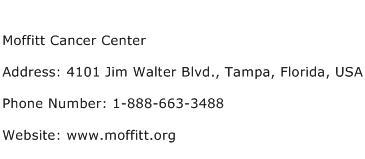 Moffitt Cancer Center Address Contact Number