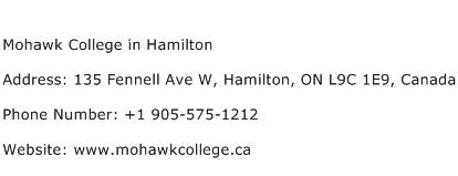 Mohawk College in Hamilton Address Contact Number