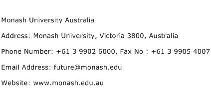 Monash University Australia Address Contact Number