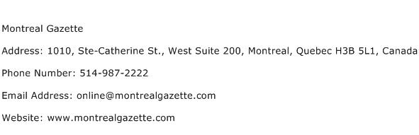 Montreal Gazette Address Contact Number