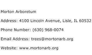 Morton Arboretum Address Contact Number