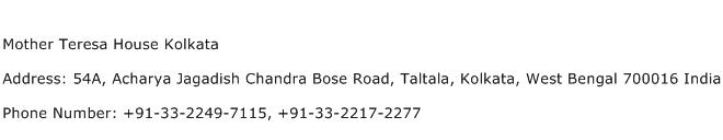 Mother Teresa House Kolkata Address Contact Number