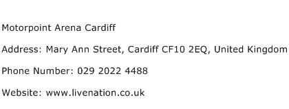 Motorpoint Arena Cardiff Address Contact Number