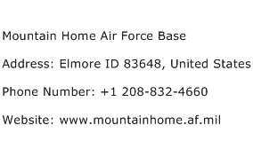 Mountain Home Air Force Base Address Contact Number