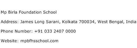 Mp Birla Foundation School Address Contact Number