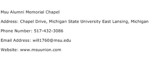 Msu Alumni Memorial Chapel Address Contact Number