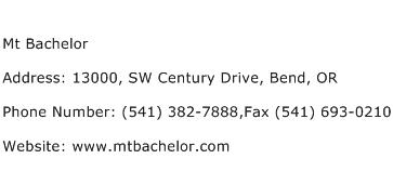 Mt Bachelor Address Contact Number