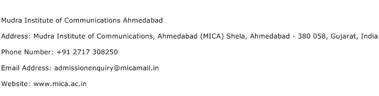 Mudra Institute of Communications Ahmedabad Address Contact Number