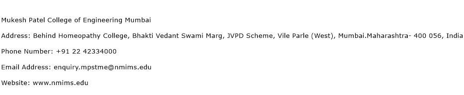Mukesh Patel College of Engineering Mumbai Address Contact Number