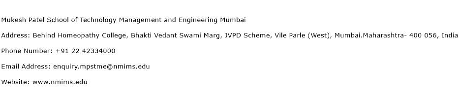 Mukesh Patel School of Technology Management and Engineering Mumbai Address Contact Number