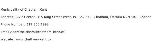 Municipality of Chatham Kent Address Contact Number