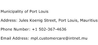Municipality of Port Louis Address Contact Number