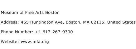 Museum of Fine Arts Boston Address Contact Number