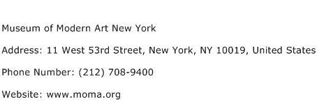 Museum of Modern Art New York Address Contact Number