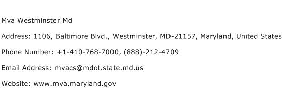 Mva Westminster Md Address Contact Number