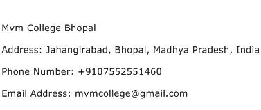 Mvm College Bhopal Address Contact Number
