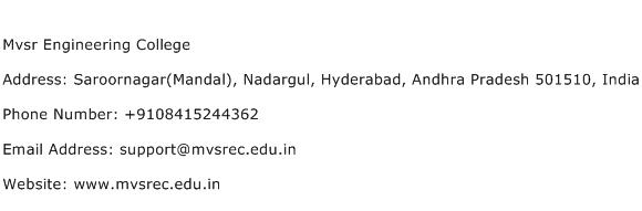 Mvsr Engineering College Address Contact Number