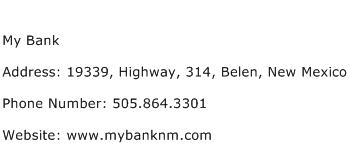 My Bank Address Contact Number