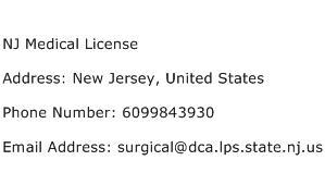 NJ Medical License Address Contact Number