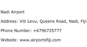 Nadi Airport Address Contact Number