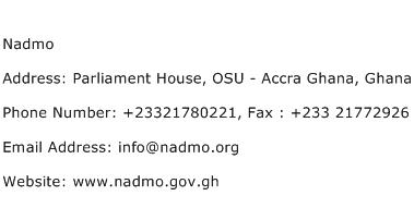 Nadmo Address Contact Number