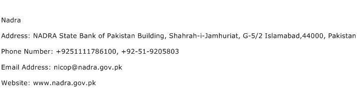 Nadra Address Contact Number