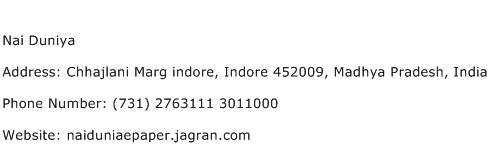 Nai Duniya Address Contact Number
